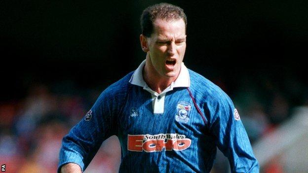 Mark Aizlewood in action for Cardiff City in 1994