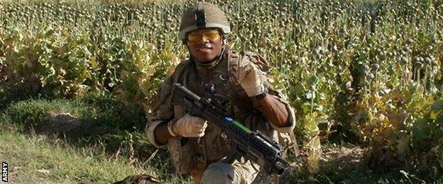 Semesa Rokoduguni pictured on patrol in Afghanistan