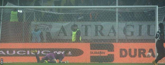 Celtic goalkeeper Craig Gordon was left stranded when William de Amorim curled a shot beyond him to square it