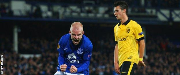 Steven Naismith celebrates scoring for Everton against Lille in the Europa League