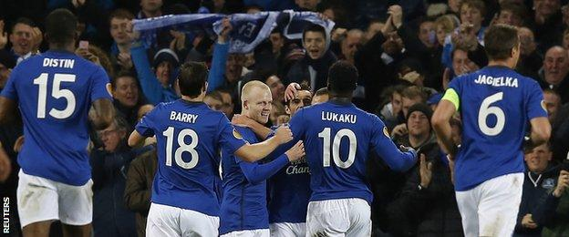 Everton players celebrate a 3-0 win over Lille in the Europa League