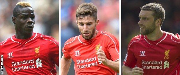 Liverpool strikers Mario Balotelli, Fabio Borini and Rickie Lambert