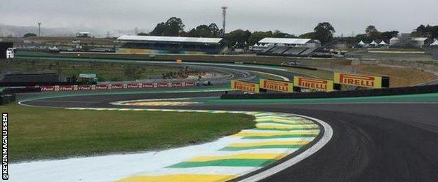 Kevin Magnussen tweets picture of the S bend at Interlagos