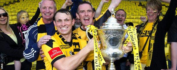 Auchinleck Talbot players with the Scottish Junior Cup