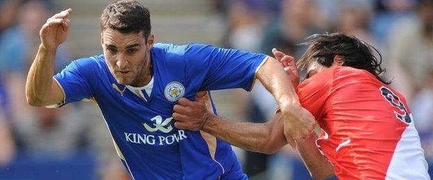 Matty James (left) in action for Leicester
