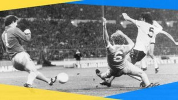 Tottenham's Ricky Villa scores his famous goal in the 1981 FA Cup final against Manchester City