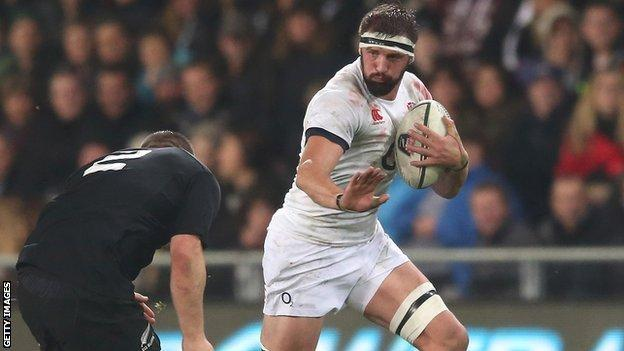 Tom Wood playing against New Zealand