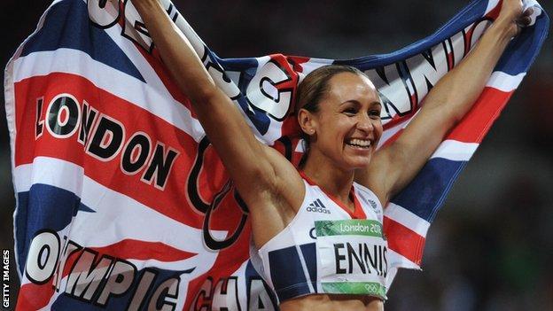 Jessica Ennis-Hill celebrates winning at London 2012