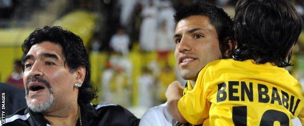 Sergio Aguero and Diego Maradona