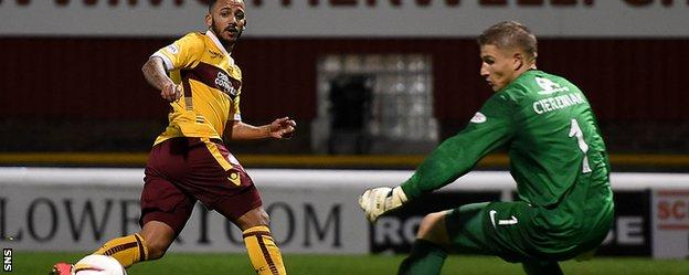 Lionel Ainsworth slips the ball past Radoslaw Cierzniak