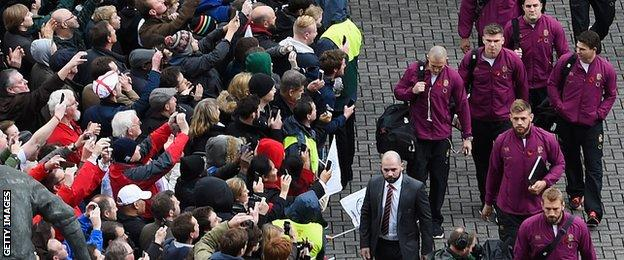 England team arrive at Twickenham