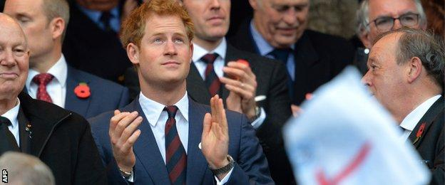 Prince Harry watches on at the England game