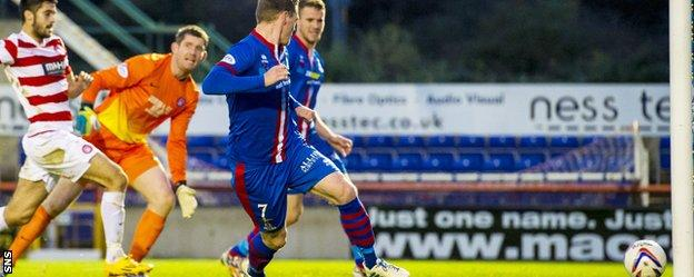 Billy McKay slots in his second goal of the game against Hamilton