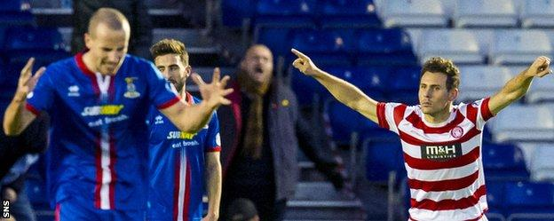 Tony Andreu celebrates his second goal against Inverness