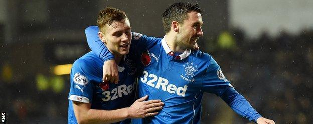 Lewis Macleod and Nicky Clark and celebrate