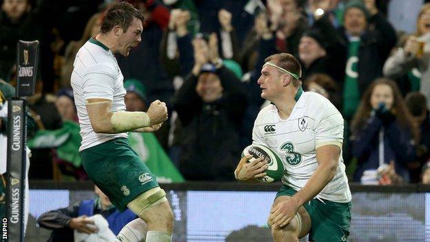 Peter O'Mahony and Irish try-scorer Rhys Ruddock