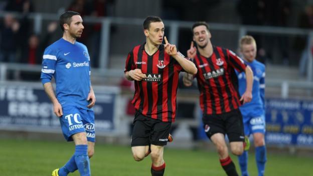 Paul Heatley celebrates after scoring the second-half equaliser for Crusaders against Ballinamallard