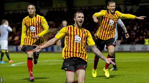 Christie Elliott celebrates his goal against St Mirren