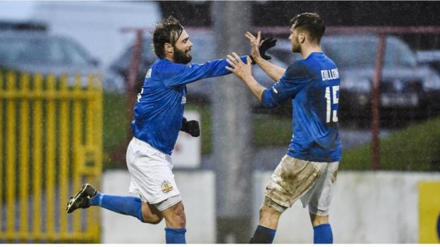 Glenavon player-manager Gary Hamilton is congratulated after scoring one of his two goals against his former club Glentoran