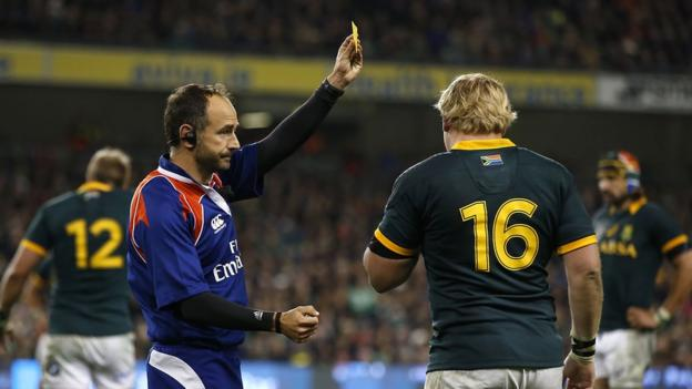 Referee Romian Poite issued a yellow card to Adrian Strauss for a high tackle on Rob Kearney during the second half
