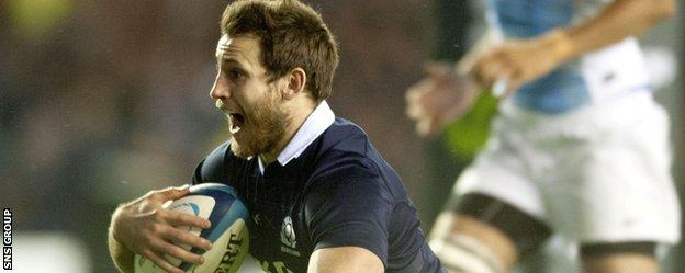 Tommy Seymour plunged over for Scotland's fifth try of the evening