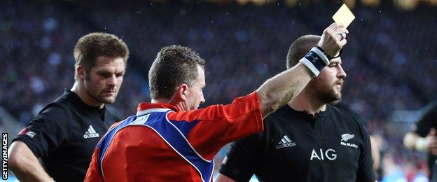 Dane Coles is sent to the bin by referee Nigel Owens