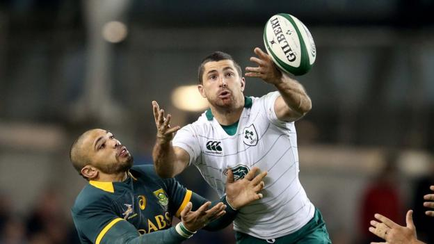 Bryan Habana and Rob Kearney in action during Ireland's victory over South Africa