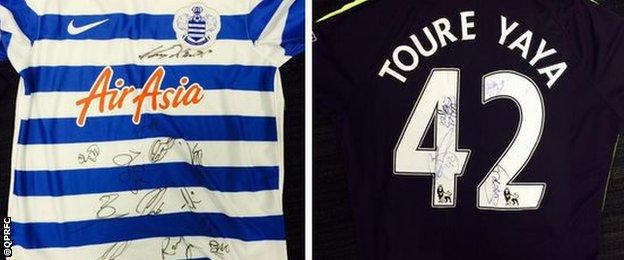 QPR and Man City signed shirts