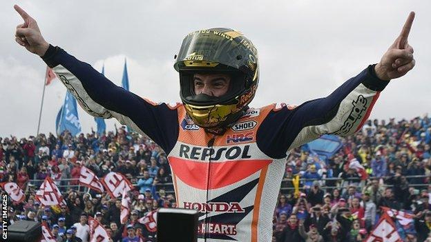 Marc Marquez celebrates in Valencia
