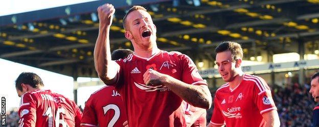 Adam Rooney shot Aberdeen in front after 27 minutes