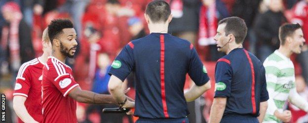 Shaleum Logan was sent off for comments made after the full-time whistle