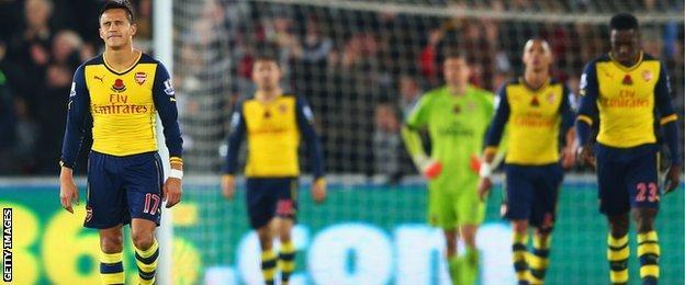 Arsenal players were left dejected by Swansea's fightback