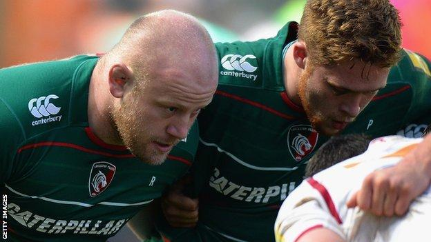 Dan Cole (left) scrums down during Sunday's game against Sale Sharks