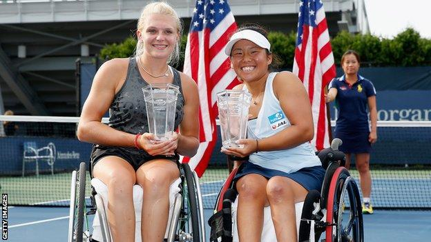 Great Britain's Jordanne Whiley and Japans Yui Kamiji