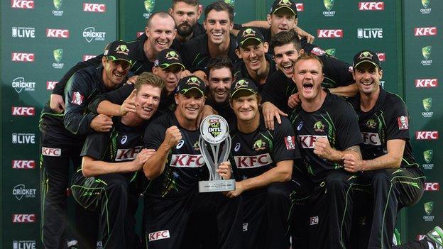 Australia with the Twenty20 series trophy