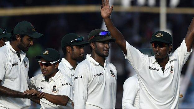 Rubel Hossain leads the celebrations after Bangladesh win the second Test to clinch the series