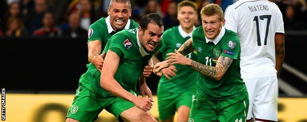 John O'Shea celebrated his 100th cap with a stoppage-time equaliser in Germany