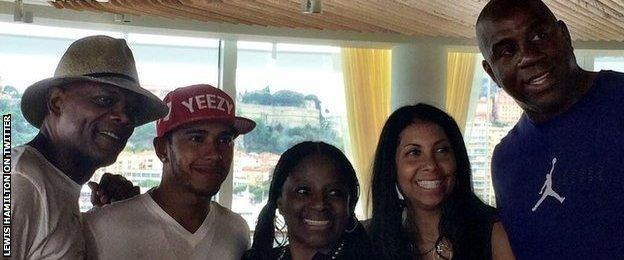 Lewis Hamilton, Magic Johnson and Samuel L Jackson in Monaco