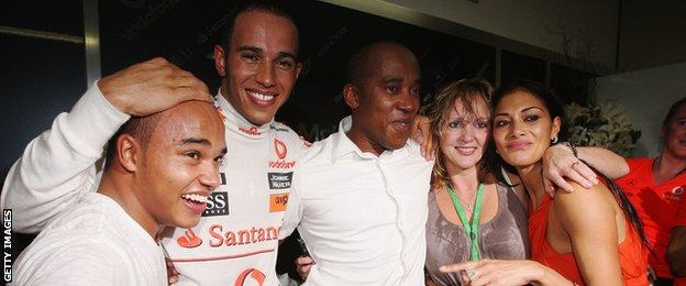 Lewis Hamilton and his family