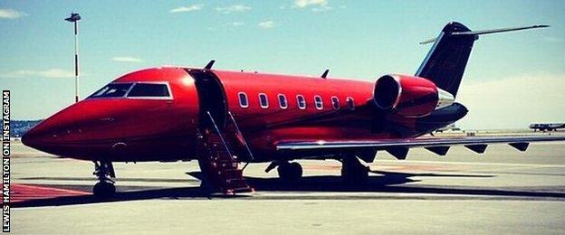 Lewis Hamilton's plane