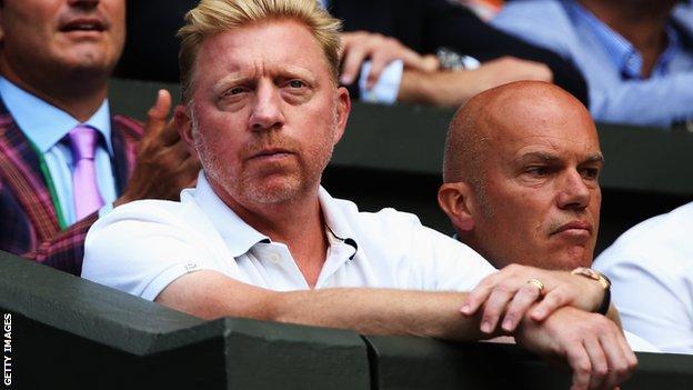 Boris Becker watches Novak Djokovic