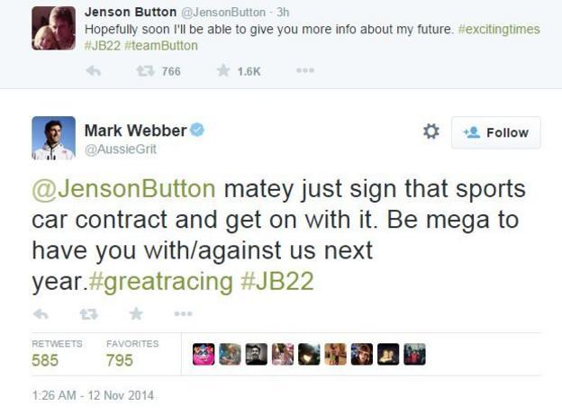Mark Webber and Jenson Button on Twitter