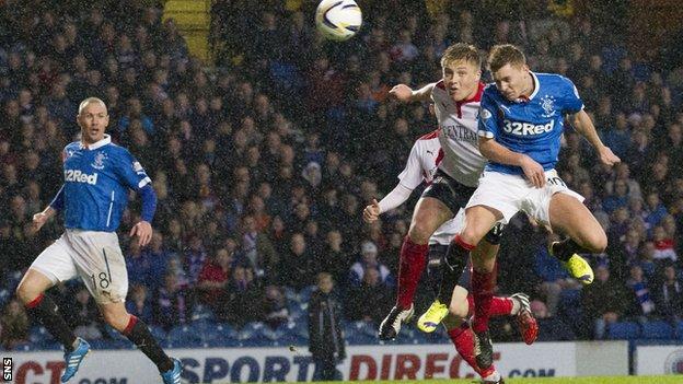 Lewis Macleod scores against Falkirk as Rangers win 4-0