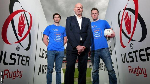 Anto Finnegan with Ulster players Aaron Findon and Rory Beggan