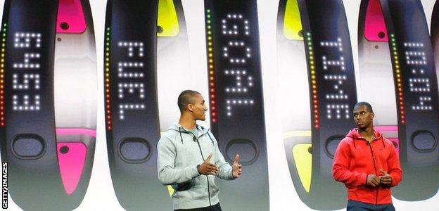 Decathlete Ashton Eaton and NFL star Victor Cruz at Nike FuelBand launch