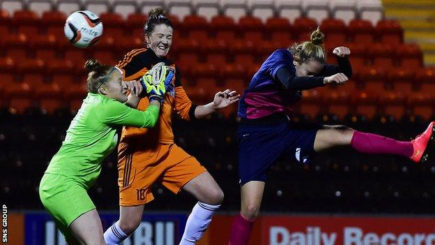 Suzanne Lappin heads in the winning goal for Glasgow City on a dramatic night