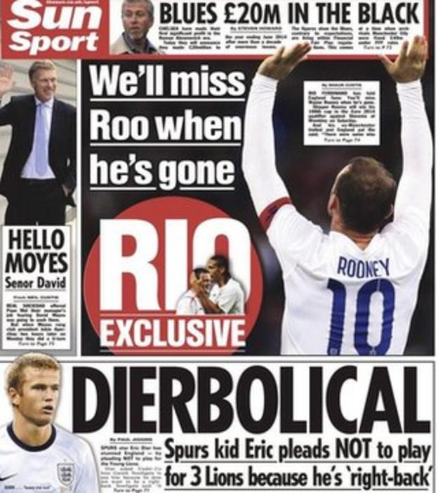 The back page of Thursday's Sun