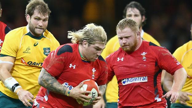 Richard Hibbard in action for Wales against Australia