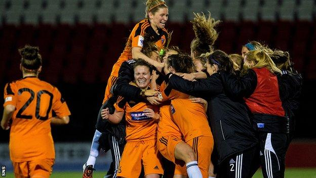 Glasgow City celebrate after beating FC Zurich