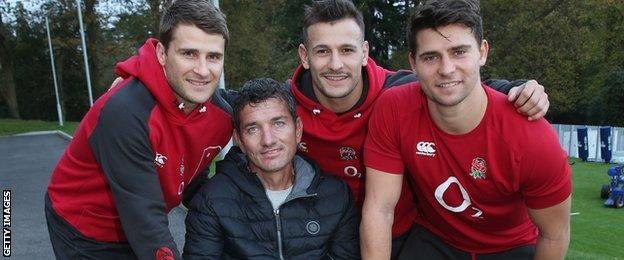 England's Richard Wigglesworth, Danny Care and Ben Youngs with Joost van der Westhuizen
